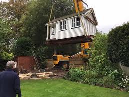 office in the garden. Garden Office Installed By A Crane In The