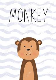Cute Monkey Illustration For Baby Kids Poster Nursery Wall