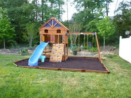 kids garden ideas with blue slide and small house wood and swings for your kids  playground