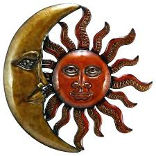 outdoor sun decor outdoor sun decor new age metal sun crescent moon wall art gold orange outdoor sun