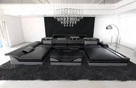 Details Zu Ecksofa Leder Designer Wohnlandschaft Monza U Form Schwarz Grau Led Beleuchtung