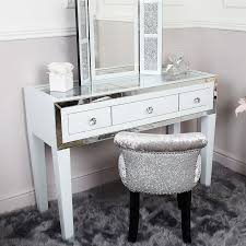 madison white glass mirrored trim clear top 3 drawer dressing table