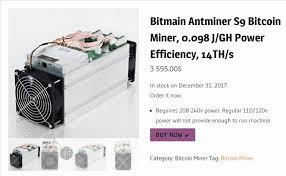 Bitmain Antminer S9 Bitcoin Miner 0 098 J Gh Power