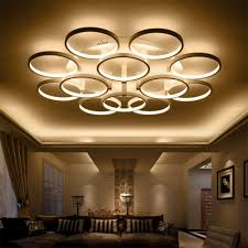 rings white finished chandeliers led circle modern chandelier lights for living room acrylic fuloc indoor lighting ceiling light pendant light from honpus