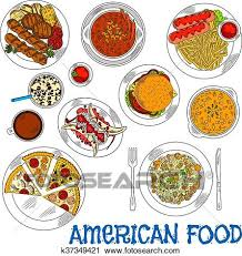 american food clipart. Modren Clipart Clipart  American Fast Food And Grilled Dishes Sketch Icon Fotosearch  Search Clip Art With Food T