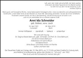 Traueranzeigen von Anni Ida Schneider   franken-gedenkt.de
