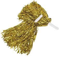 2 pcs Small Handle Gold Metallic Spirit Pom Poms for Kid Kids Poms|Wholesale Cheer sale