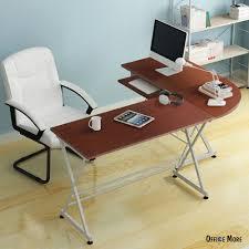 l shaped corner computer desk pc laptop table wood workstation home office