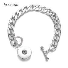 10pcs lot whole vocheng ginger snap jewelry snless steel bracelet for 18mm snap charms on