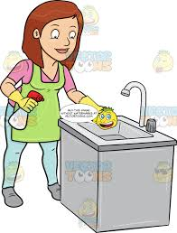 A Woman Trying To Polish A Kitchen Sink Clipart Cartoons By