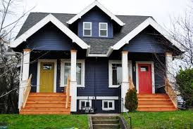 blue exterior paintThis Land Is Portland  Exterior paint colors White trim and
