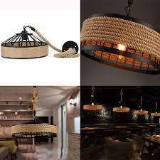 rustic nautical rope woven drum shade ceiling light fixture pendant chandelier