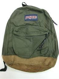 vintage jansport backpack made in green with leather bottom day pack hiking
