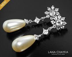 teardrop pearl cz bridal earrings swarovski ivory cream pearl silver earrings pearl bridal earrings wedding pearl chandelier weddings 28 50 usd