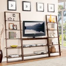 Wooden Ladder Display Stand Brown Stained Wooden Ladder Display Shelf As TV Stand Lean Back On 61