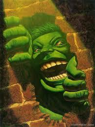 hulk smash brick wall oil portrait painting