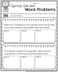 first grade word problems for spring addition and subtraction