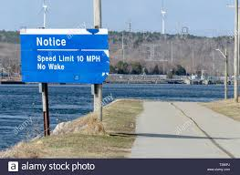 Sign At East End Of Cape Cod Canal Warns Boat Traffic To