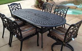 <b>Outdoor 7 pc</b> dining set <b>patio</b> furniture oval table cast aluminum ...