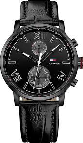 tommy hilfiger alden 1791310 black leather band mens watch men s tommy hilfiger alden black leather band watch 1791310