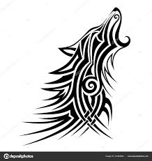 Kmenové Wolf Tattoo černý Design Vektor Art Nápad Načrtnout