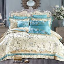 europe style flower satin jacquard luxury wedding bedding set queen king size duvet cover cotton bed spread sheet set pillow contemporary bedding cotton