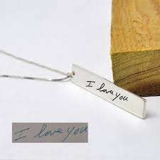 whole 925 sterling silver vertical bar en your hand written words custom handwriting jewelry personalized gift