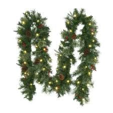 Home Depot Lighted Garland 12 Ft Pre Lit Syracuse Artificial Christmas Garland With
