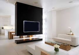 contemporary gas fireplace under wall mounted lcd tv