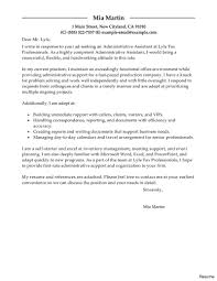 Simple Cover Letters For Resume Sample Cover Letter Administrative Assistant Resume Vesochieuxo 19