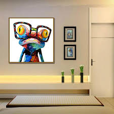 modern oil painting on canvas abstract animal wall art for home decoration happy frog no frame