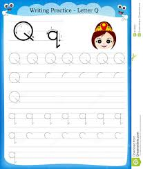 Writing practice letter Q