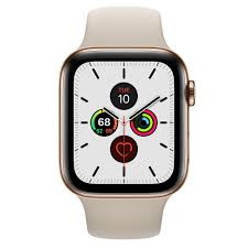 Refurbished Apple Watch Series 5 GPS + Cellular, 44mm, Gold Stainless Steel  Case with Stone Sport Band - Apple