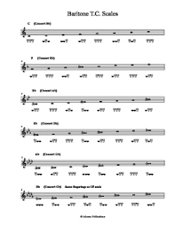 Baritone Scale Chart Baritone Treble Clef Major Scales With Fingerings By Johnson