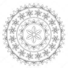 Disegni Da Colorare Mandala Fiore Nero Vettoriali Stock Ingasmk