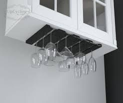 under cabinet wine glass holder wooden rack hanging stemware for kitchen storage