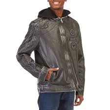mens hooded faux leather moto jacket with sherpa lining