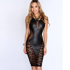 black faux leather lace transpa con dress new arrivals mesh dress knee length hollow out y club dress 2016 tq21643