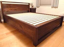 Image of: Walnut Storage Bed Frame
