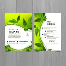 Green Brochure Template Brochure Template With Leaves Vector Free Download