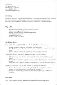 Production Assistant Resume Inspiration 122 Tv Production Assistant Resume Template Best Design Tips