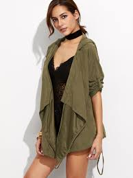 olive green roll sleeve waterfall hooded jacket pictures