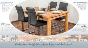 Wooden Nature Esstisch Set 409 Inkl 4 Stühle Grau Buche Massiv 160 X 90 L X B
