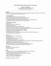 Certified Nursing Assistant Resume Inspirational Certified Nursing