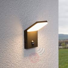 led outdoor wall light nevio with motion detector  lightscouk