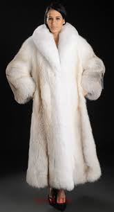 saga royal golden island shadow full length fox fur coat with white fox collar and tuxedo fox