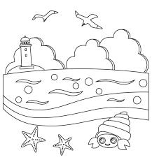 無料の灯台がある海の風景のぬりえ ぬりえパーク