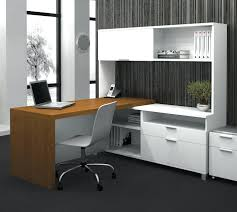 mainstays computer desk white l shaped with hutch plus chair on gray floor and wall side