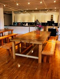 family farmhouse dining table with matching benches