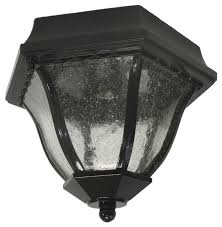 black and seeded glass exterior ceiling light